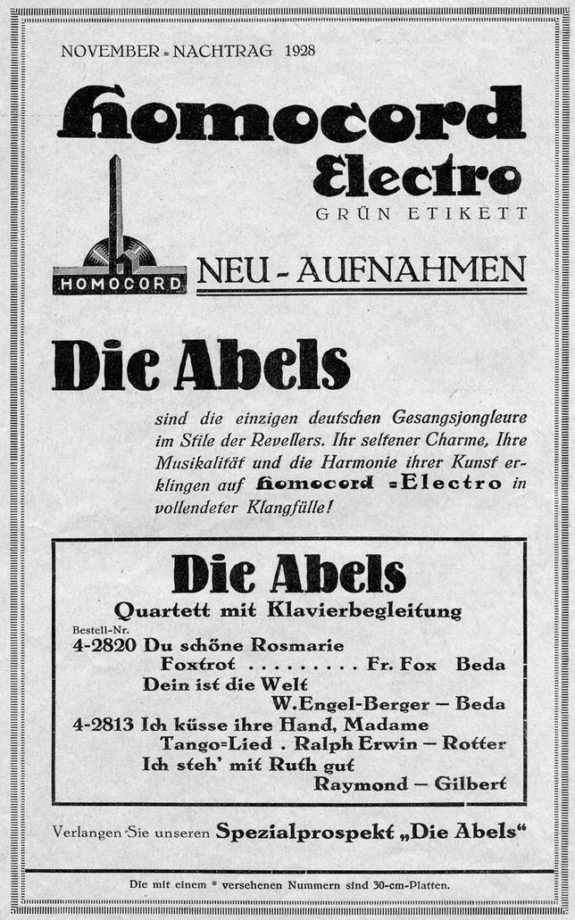 Abels (Five Songs)   Comedian Harmonists