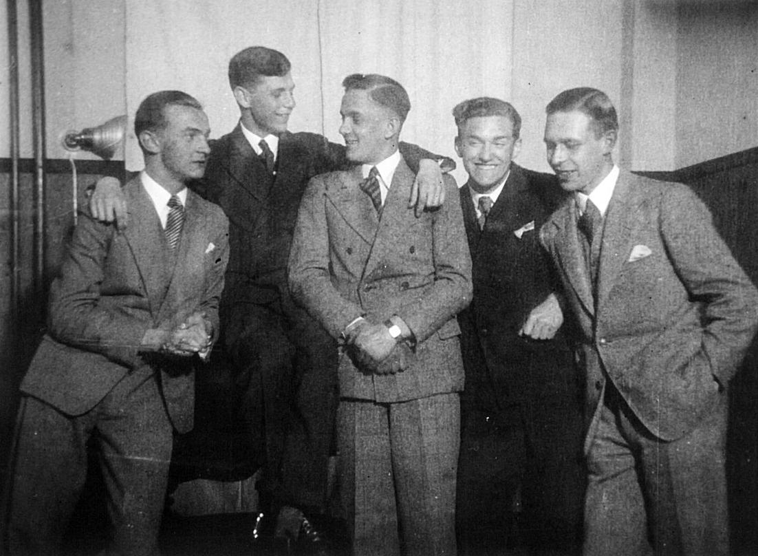 Die Harmony Boys zum Zeitpunkt ihrer Gründung, v.l.n.r.: Olaf Meitzner, Heinz Raetz, Wolfgang Leuschner, Werner Rössler und Werner Doege