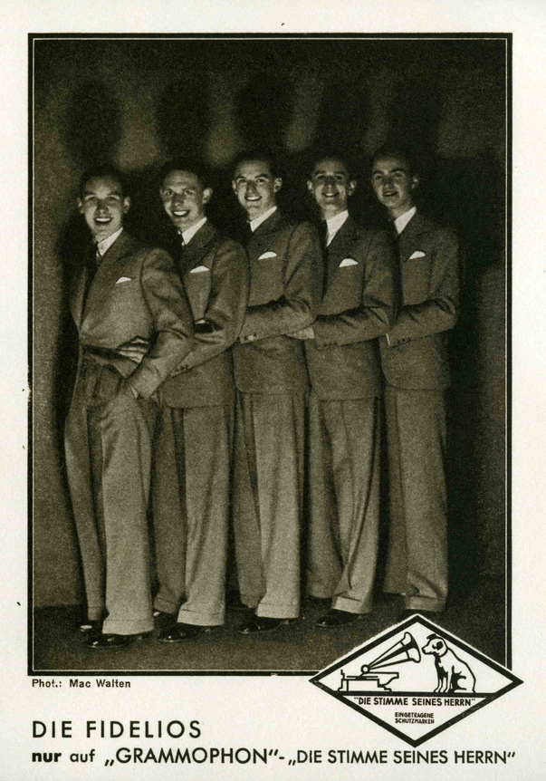 Plattenwerbung, v.l.n.r.: Erich Bergau, Werner Doege, Werner Rössler, Wolfgang Leuschner und Olaf Meitzner