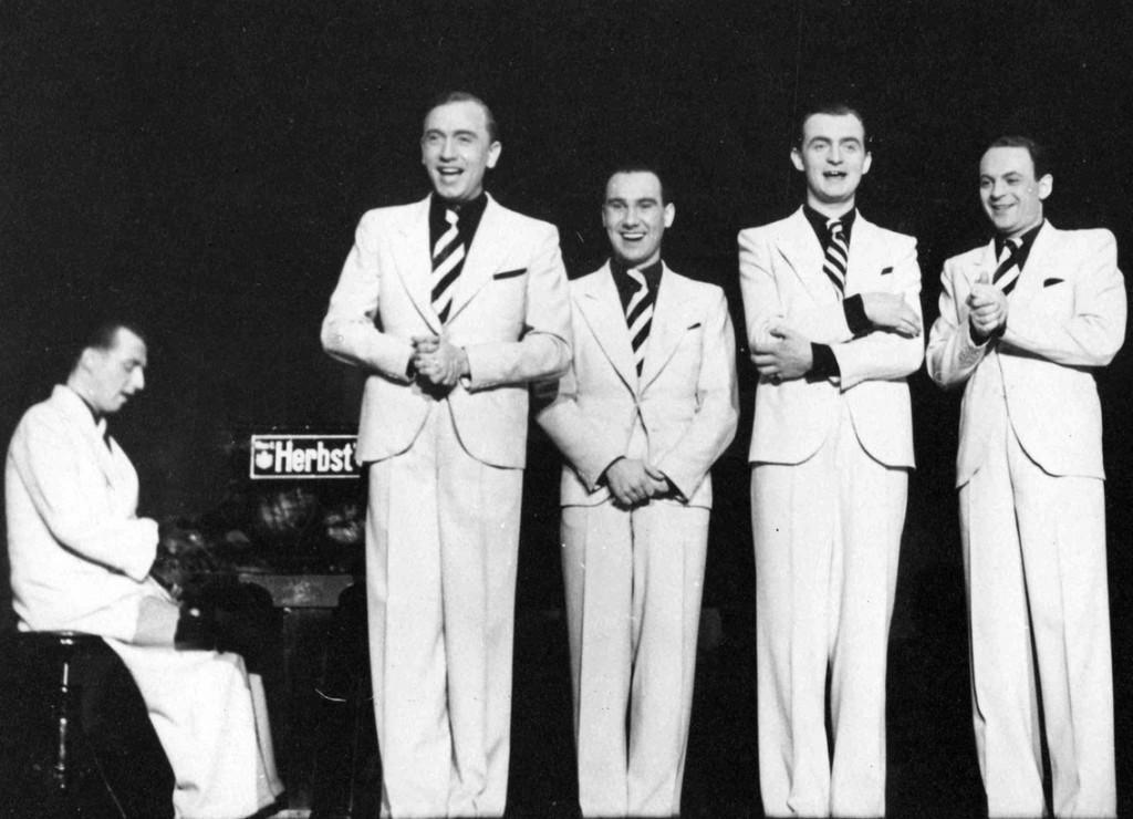 ca. 1940, v.l.n.r.: Fried Walter, Alfred Thomas, Erich Bergau, Olaf Meitzner und Hans Nowak