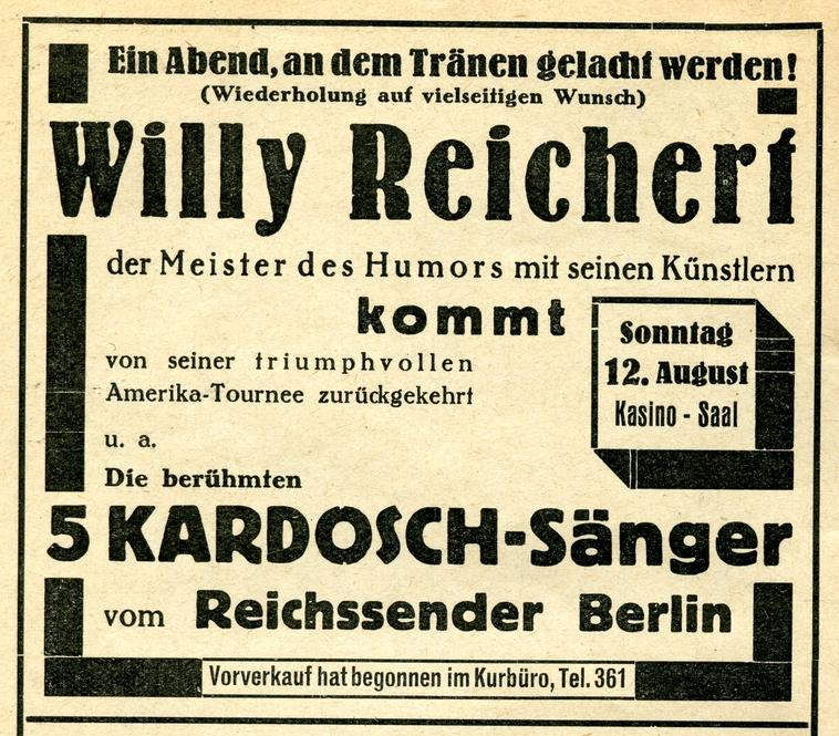 Werbeannonce aus dem Kuranzeiger von Bad Wörishofen vom August 1934