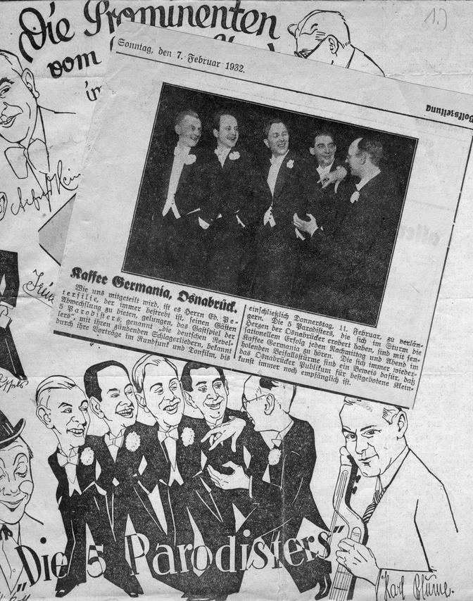 """Die erste Besetzung der """"5 Parodisters"""" 1932 – rechts außen: Kurt Bangert"""