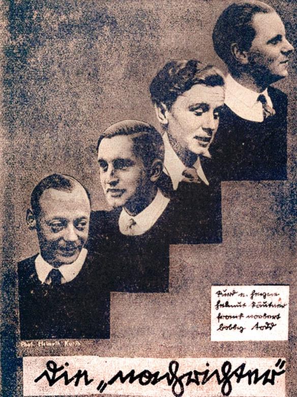 ca. 1932, v.l.n.r.: Bobby Todd, Frank Norbert (Norbert Schultze), Helmut Käutner und Kurd E. Heyne