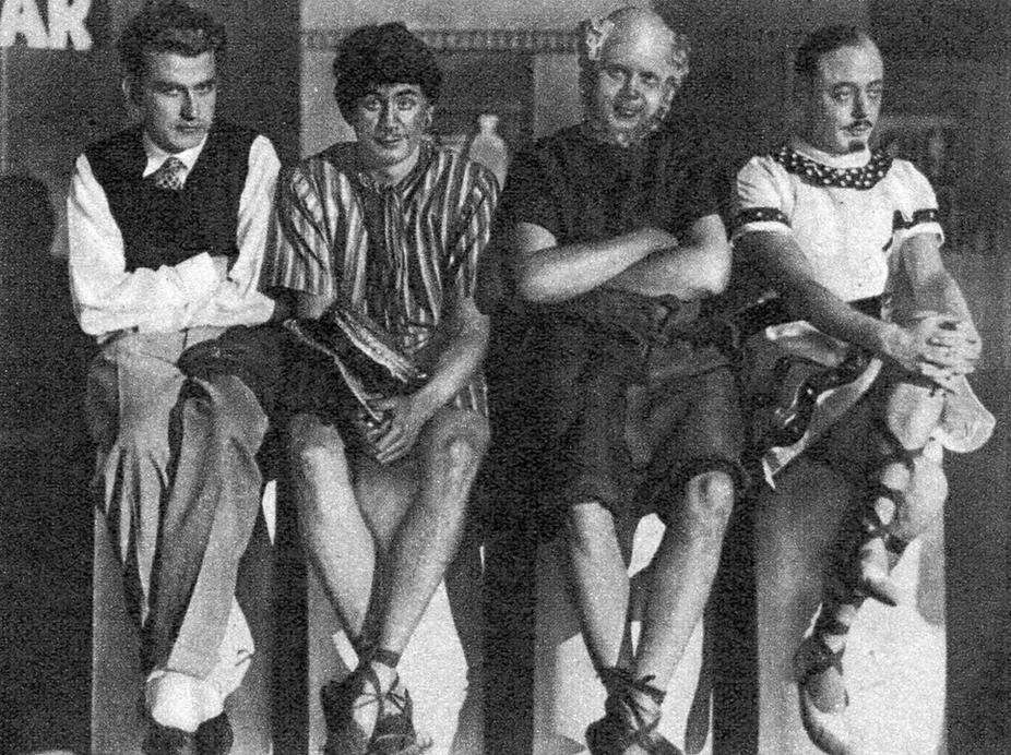 """""""Der Esel ist los"""", 1933, v.l.n.r.: Frank Norbert (Romanus Hubertus), Helmut Käutner, Kurd E. Heyne und Bobby Todd"""