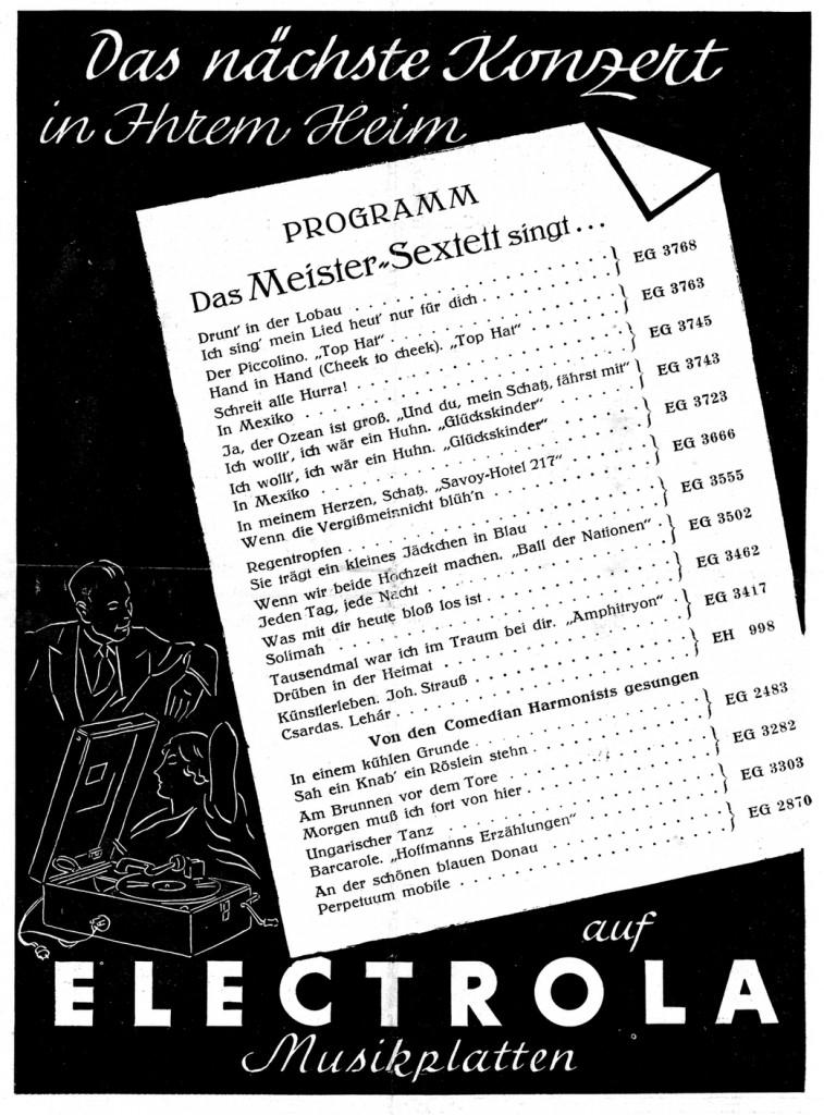 Plattenwerbung in einem Programmheft (1937)