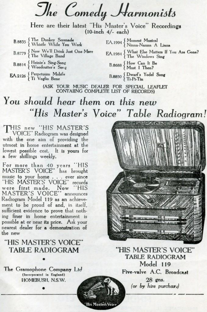 Plattenwerbung in einem Programmheft (1939)
