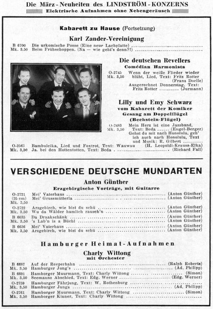 Plattenwerbung (Odeon, 1929)