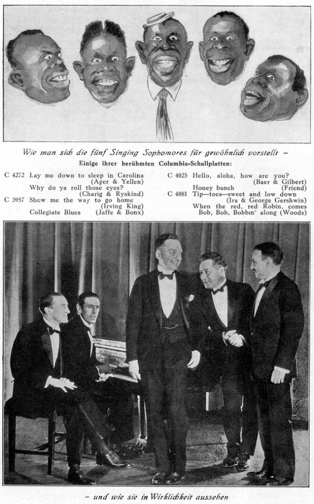 """Als """"Singing Sophomores"""" im Magazin """"Der Ton"""" vom Dezember 1927"""